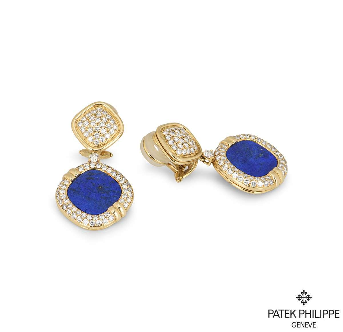 Patek Philippe Rare Lapis Lazuil & Diamond Drop Earrings